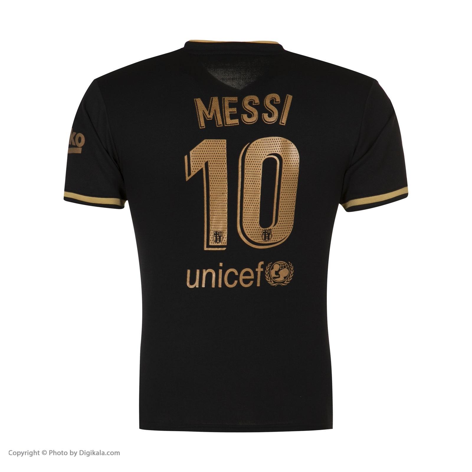 ست 4 تکه لباس ورزشی پسرانه طرح بارسلونا مدل مسی 2021away                     غیر اصل