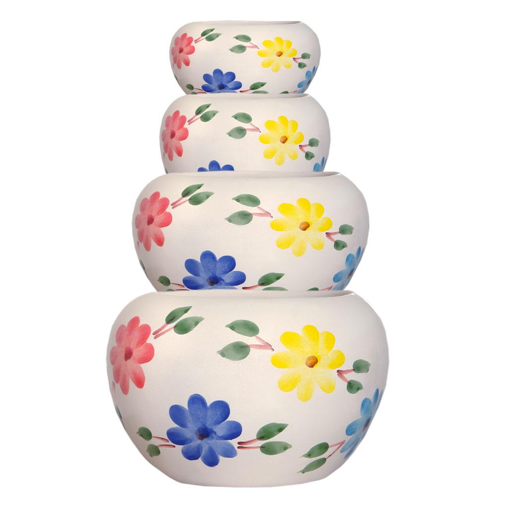 گلدان سفالی طرح گلدار کد w01 مجموعه 4 عددی