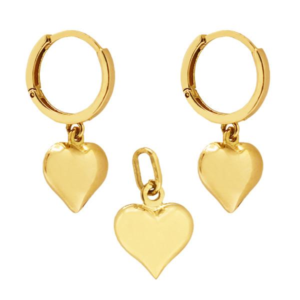 نیم ست طلا 18 عیار زنانه گالری مرجان طرح قلب مدل 1090