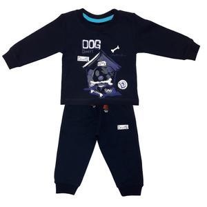 ست تی شرت و شلوار نوزادی پسرانه طرح هاپو کد 3286 رنگ سرمه ای