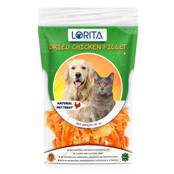 تشویقی سگ و گربه لوریتا مدل DRIED CHICKEN FILLET وزن 60 گرم