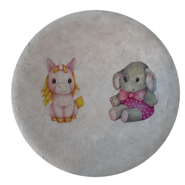 بشقاب دیوار کوب سفالی مدل اسب و خرس کد 30