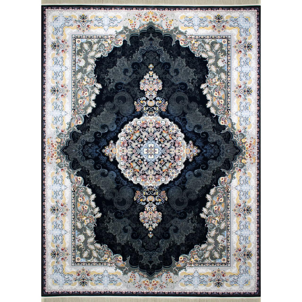 فرش ماشینی افرند کد 2247 زمینه سرمهای