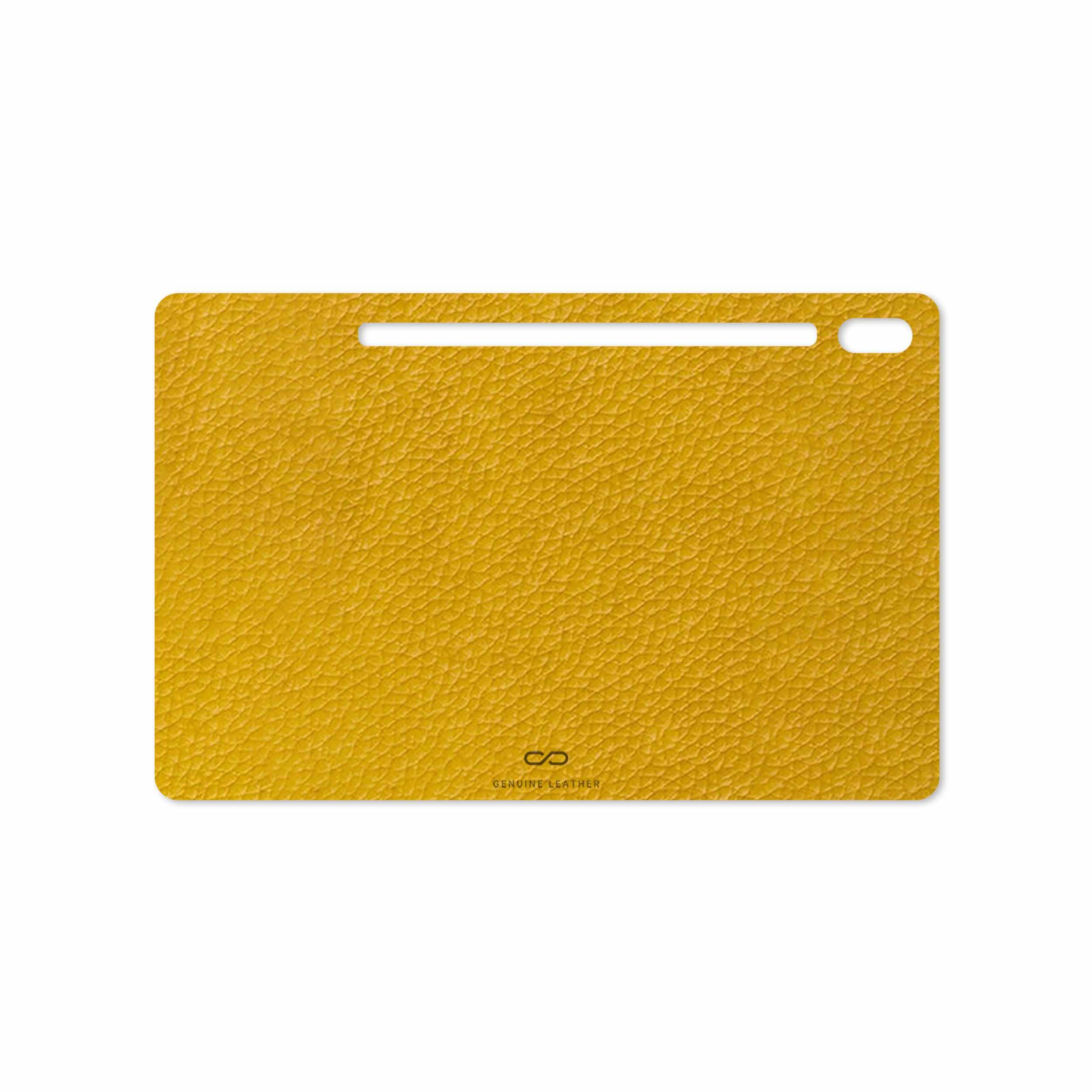 بررسی و خرید [با تخفیف]                                     برچسب پوششی ماهوت مدل Mustard-Leather مناسب برای تبلت سامسونگ Galaxy Tab S6 2019 SM-T865                             اورجینال