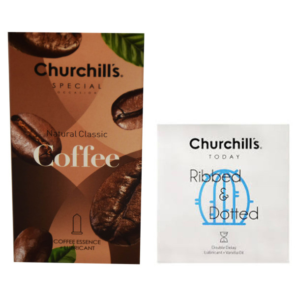 کاندوم چرچیلز مدل Coffee بسته 12 عددی به همراه کاندوم مدل شیاردار و خاردار بسته 3 عددی