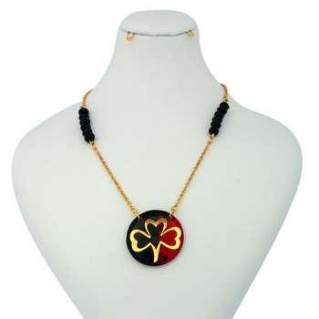 گردنبند طلا 24 عیار زنانه آلتین هنر طرح  گل شبدر کد 1004714