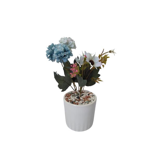 گلدان به همراه گل مصنوعی مدل داوودی 2