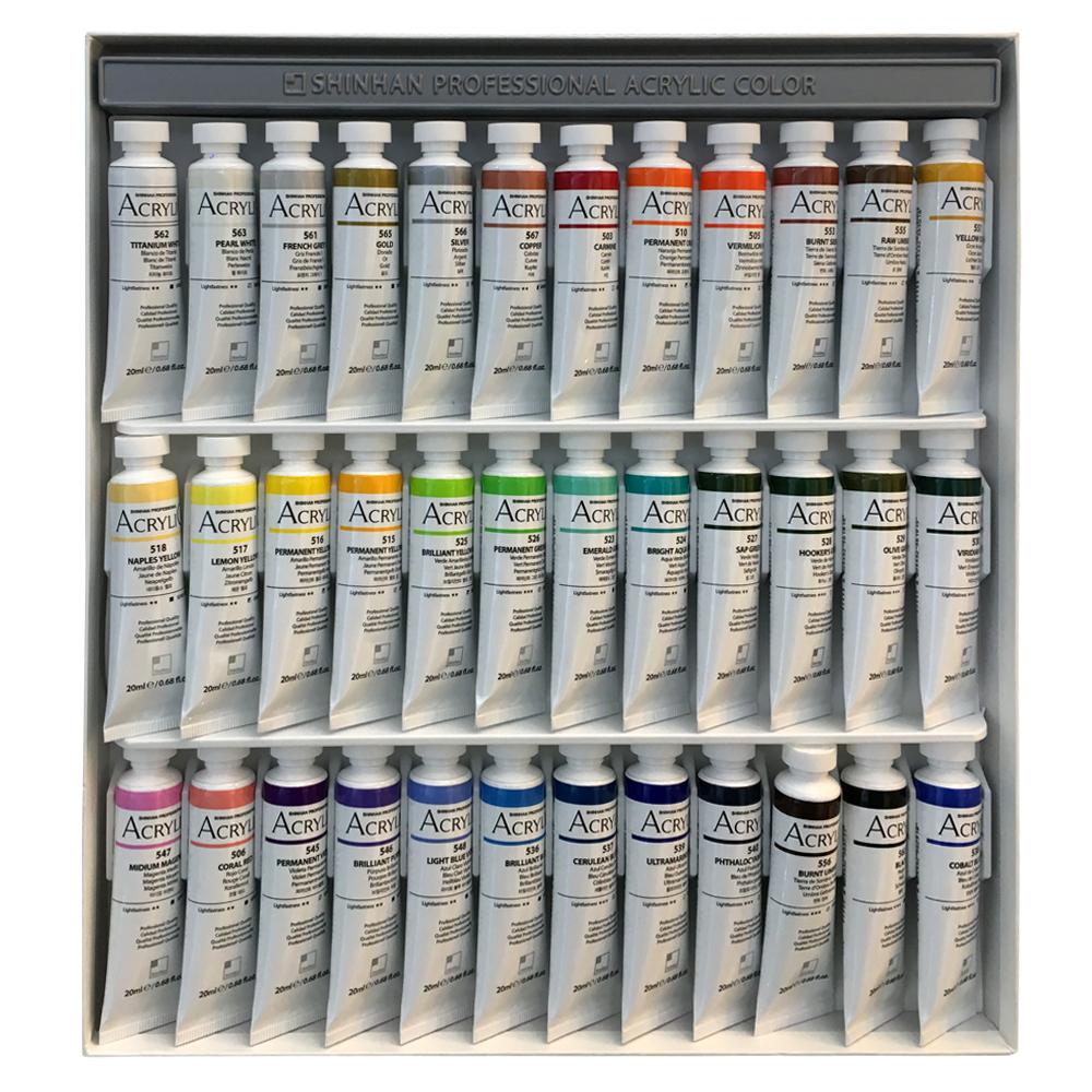 رنگ اکریلیک شین هان کد 36405 حجم 20 میلی لیتر بسته 36 عددی
