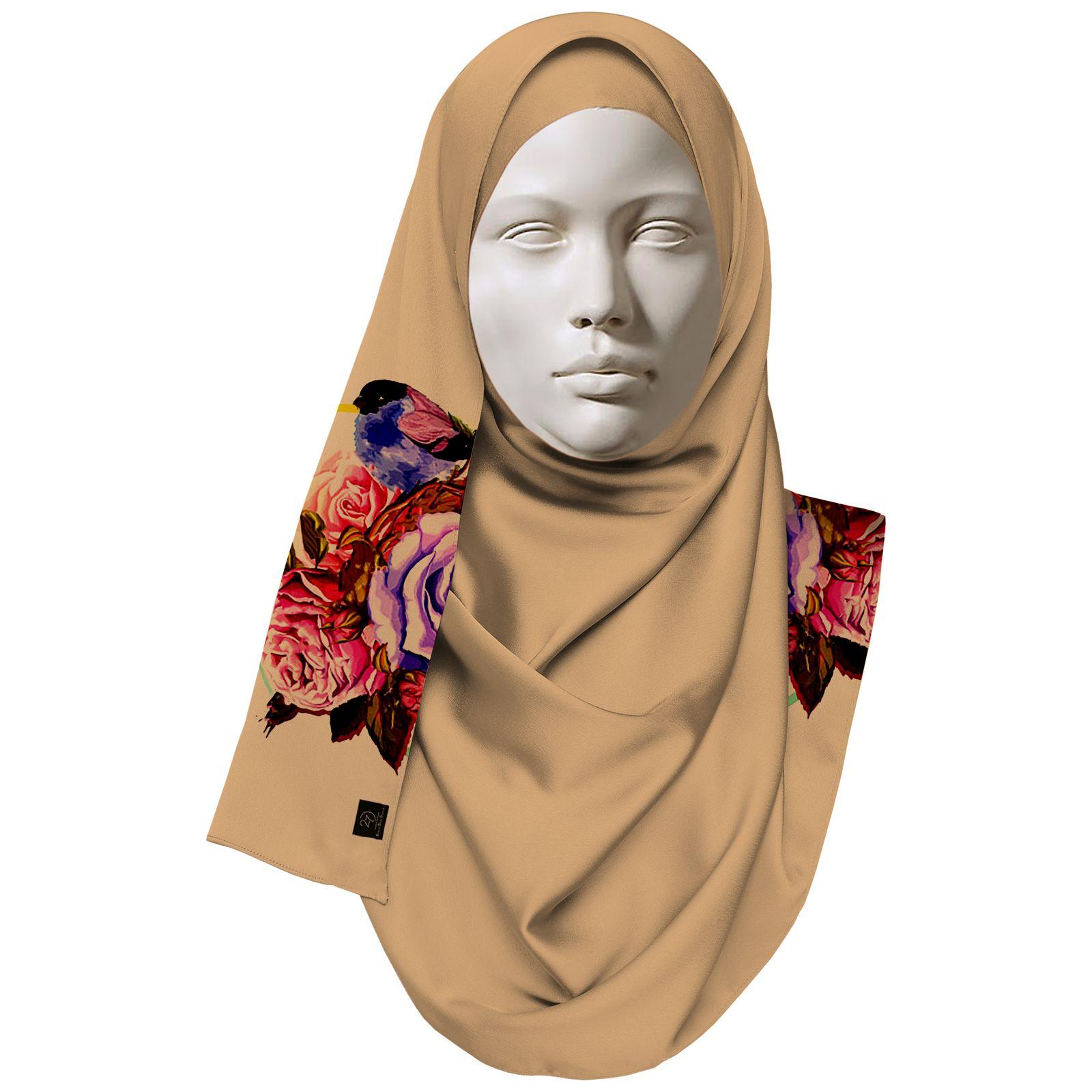 روسری زنانه 27 طرح پرنده و گل کد H06 -  - 3