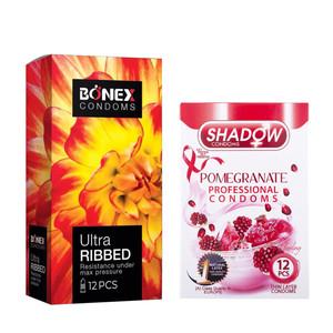 کاندوم بونکس مدل Ultra Ribbed بسته 12 عددی به همراه کاندوم شادو مدل Pomegranate بسته 12 عددی