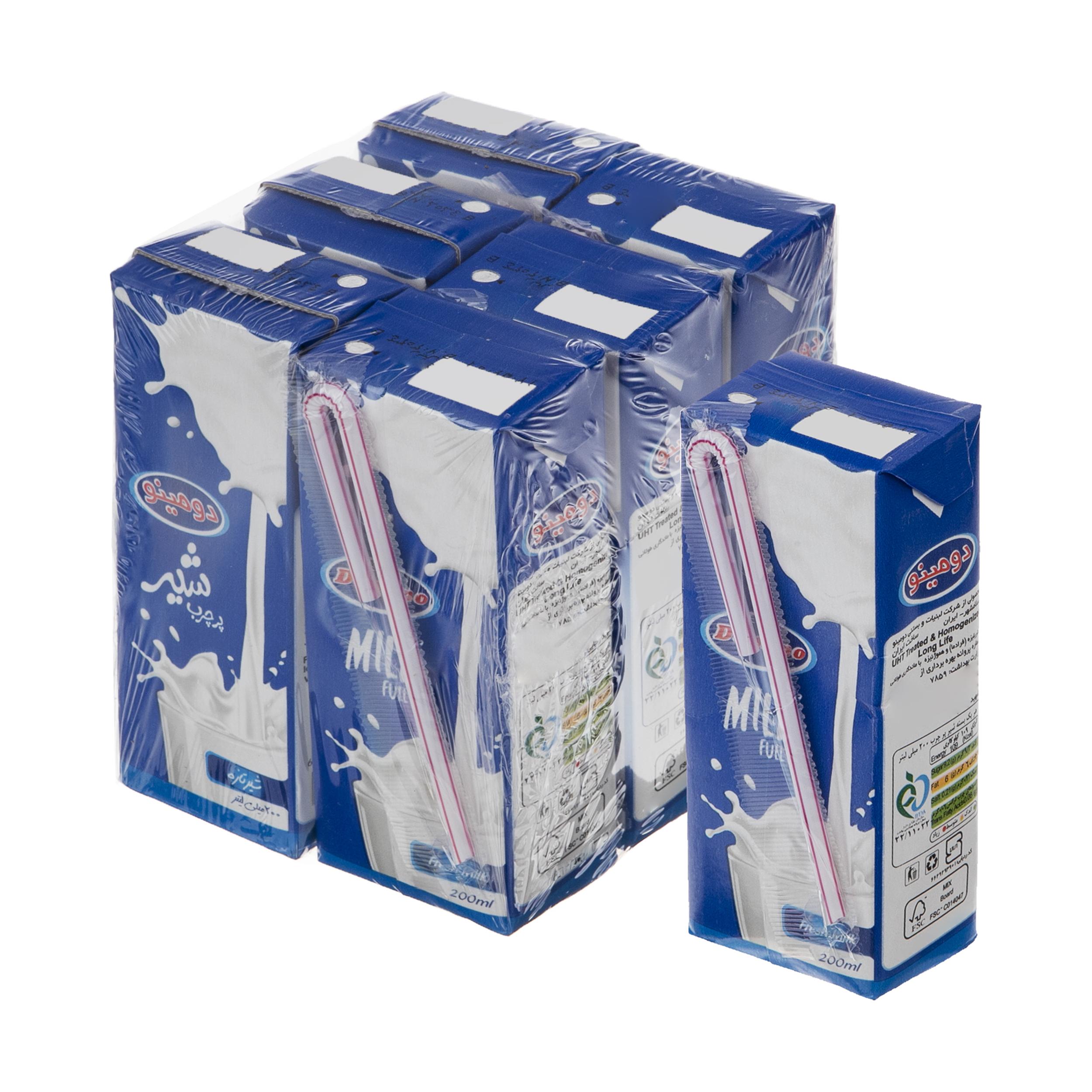 شیر پر چرب دومینو – 0.2 لیتر  بسته 6 عددی