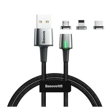 کابل تبدیل USB به لایتنینگ/microUSB/USB-C باسئوس مدل TZCAXC-A01 طول 1 متر