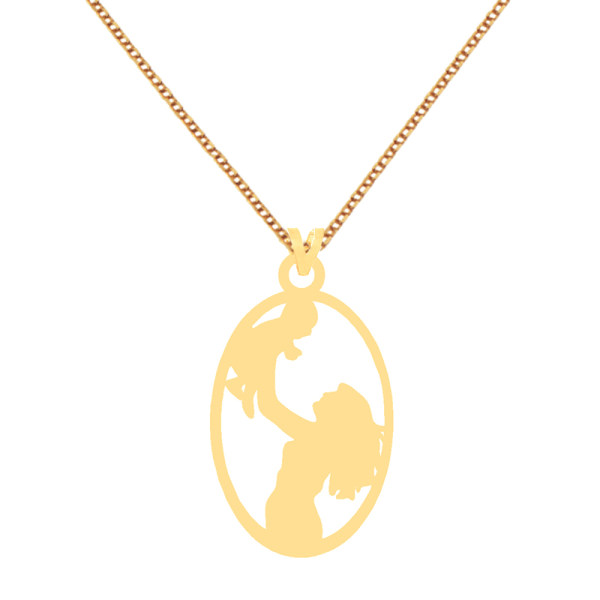 گردنبند طلا 18 عیار زنانه کرابو طرح مادر و فرزند مدل Kr7978