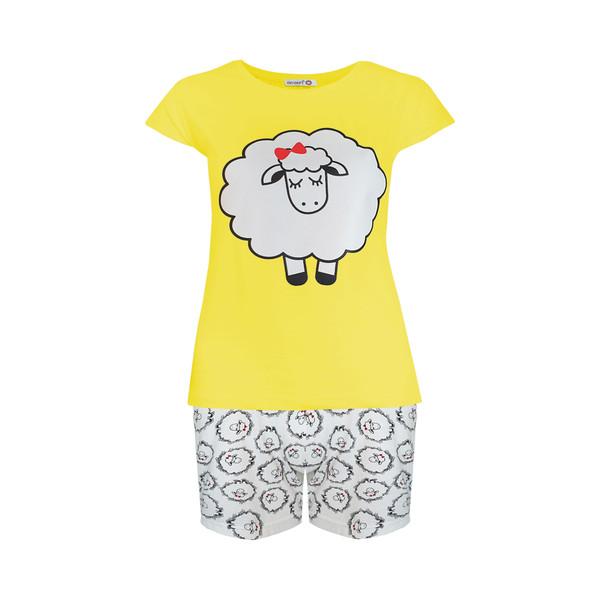 ست تی شرت و شلوارک زنانه افراتین طرح ببعی کد 6539 رنگ زرد