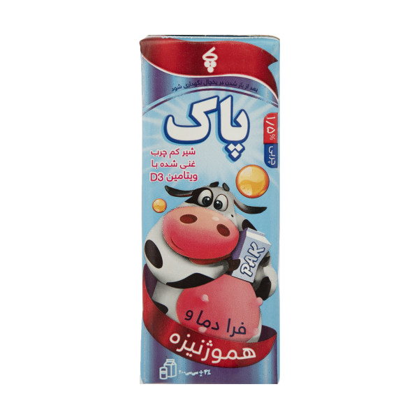 شیر کم چرب پاک با ویتامین D3 مقدار 200 گرم