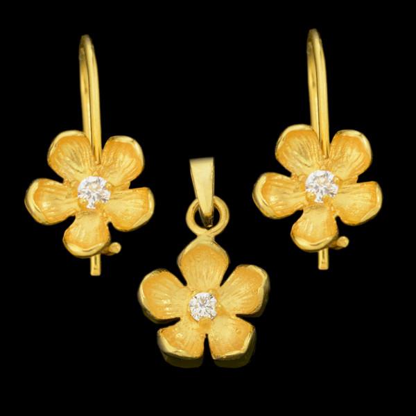 نیم ست طلا 18 عیار دخترانه طلای مستجابی مدل گل کد 67119