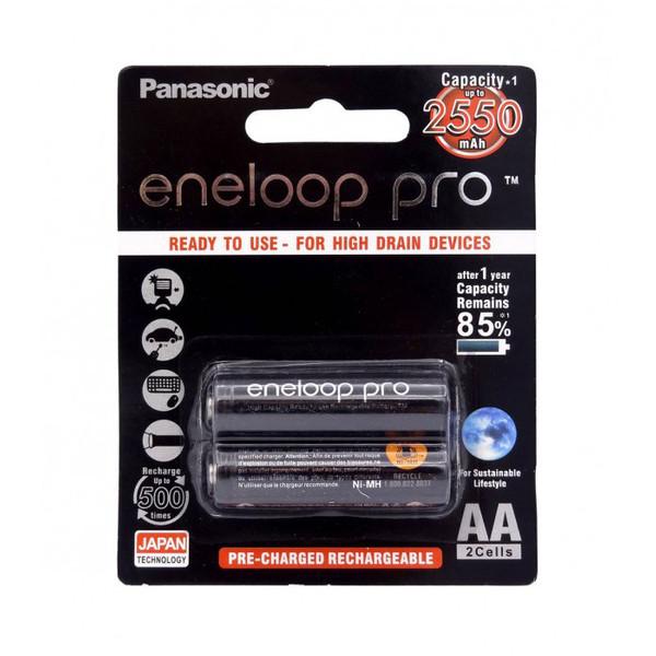 باتری قلمی قابل شارژ پاناسونیک مدل Eneloop Pro BK-3HCDE بسته 2 عددی