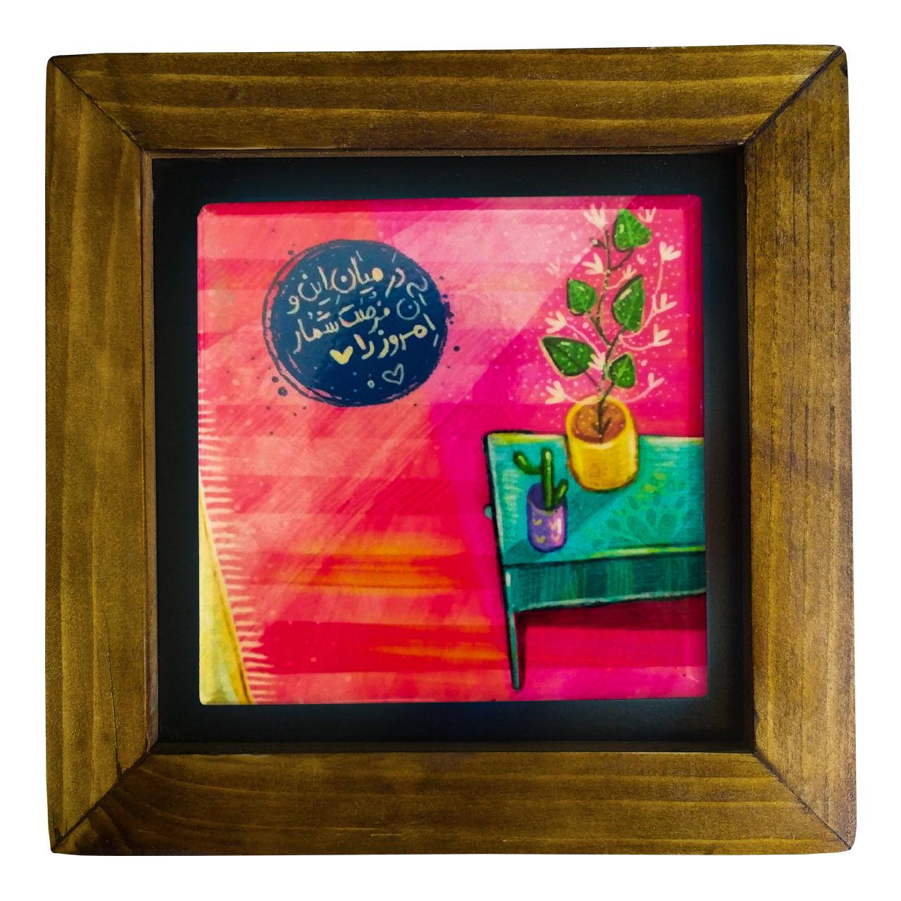 خرید                      تابلو کاشی کاری طرح گلدان و میز کد 125
