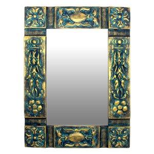 آینه چوبی دست نگار طرح گل