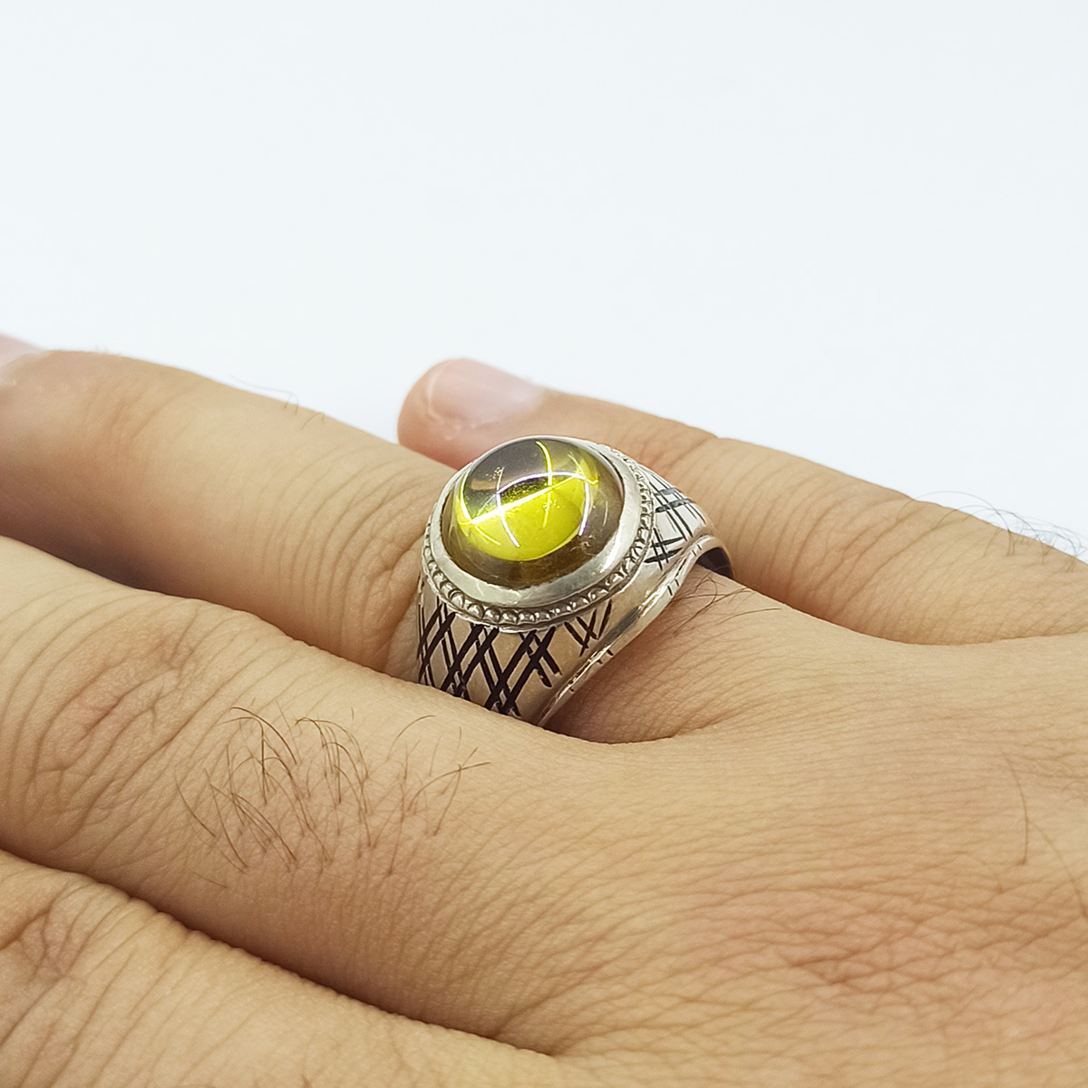 انگشتر نقره مردانه سلین کالا مدل سیترین ce-As195