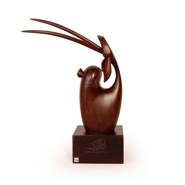 مجسمه غزال چوبی ساده  رنگ قهوه ای تیره مدل 1105900015