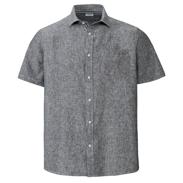 پیراهن آستین کوتاه مردانه لیورجی مدل p303148 رنگ خاکستری