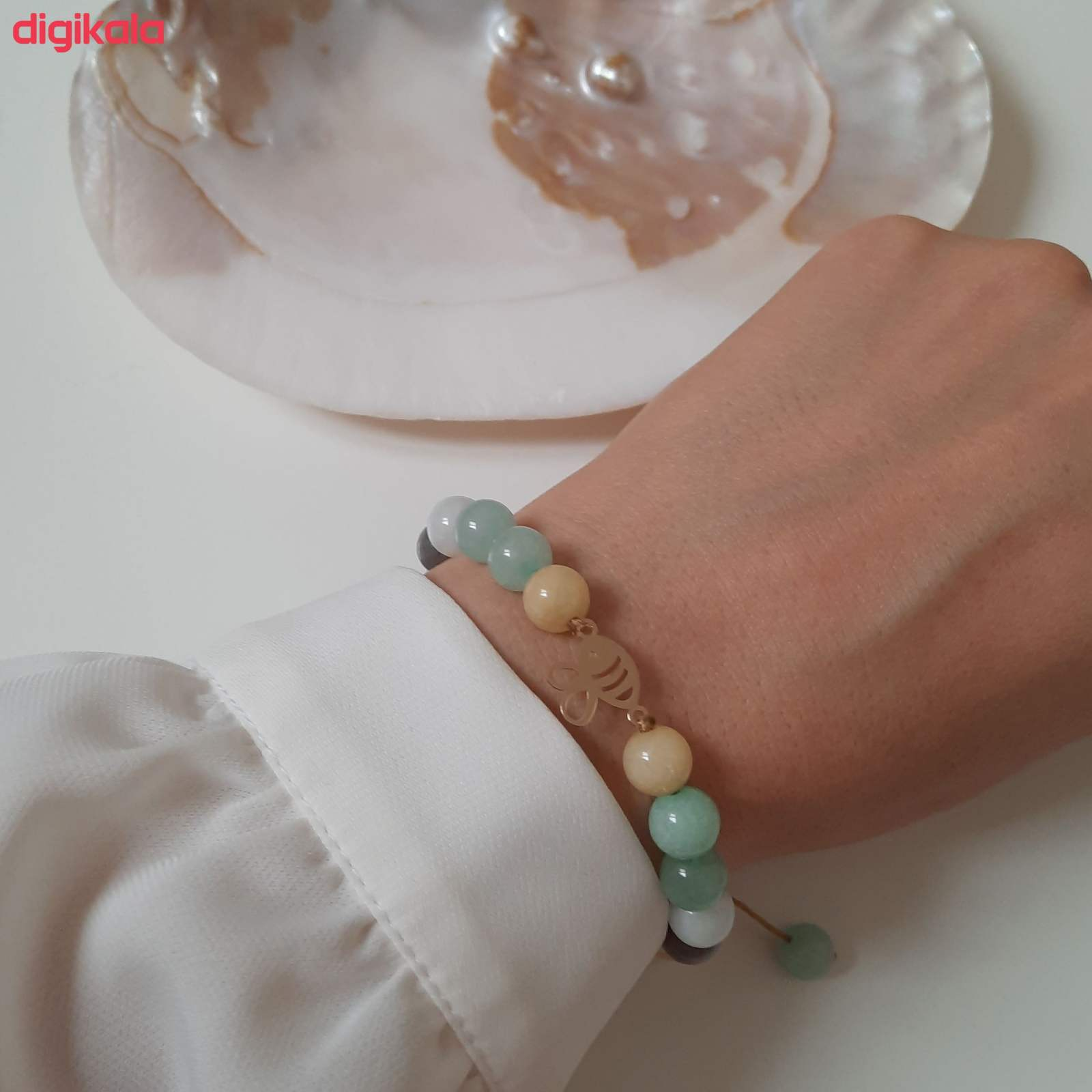 دستبند طلا 18 عیار زنانه الماسین آذر کد ZANBUR01 -  - 6