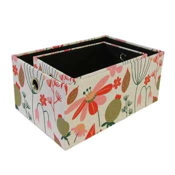 جعبه ارگانایزر هوم اند لایف مدل ویلسون طرح گل و برگ های رنگیمجموعه 2 عددی