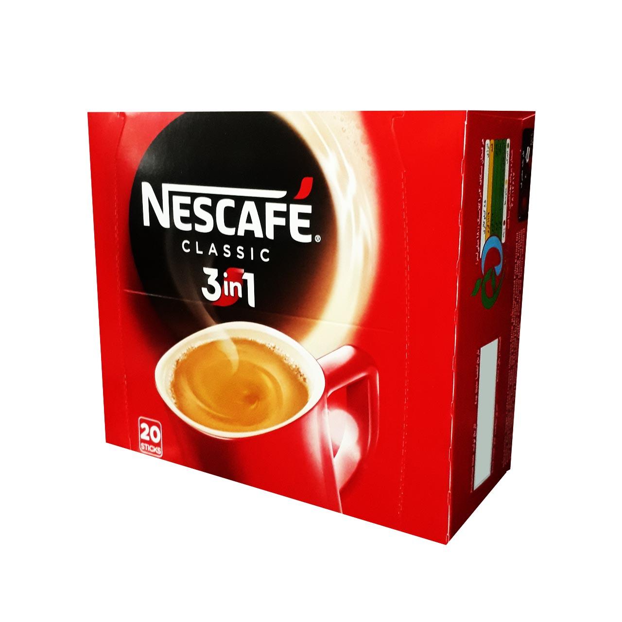 پودر مخلوط قهوه فوری 3 در 1 نسکافه بسته 20 عددی