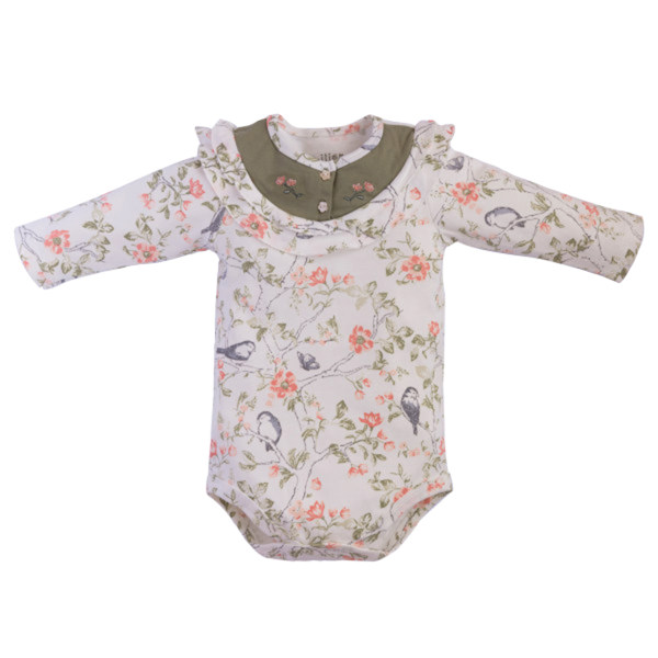بادی آستین بلند نوزادی دخترانه نیلی مدل Sparrow7675