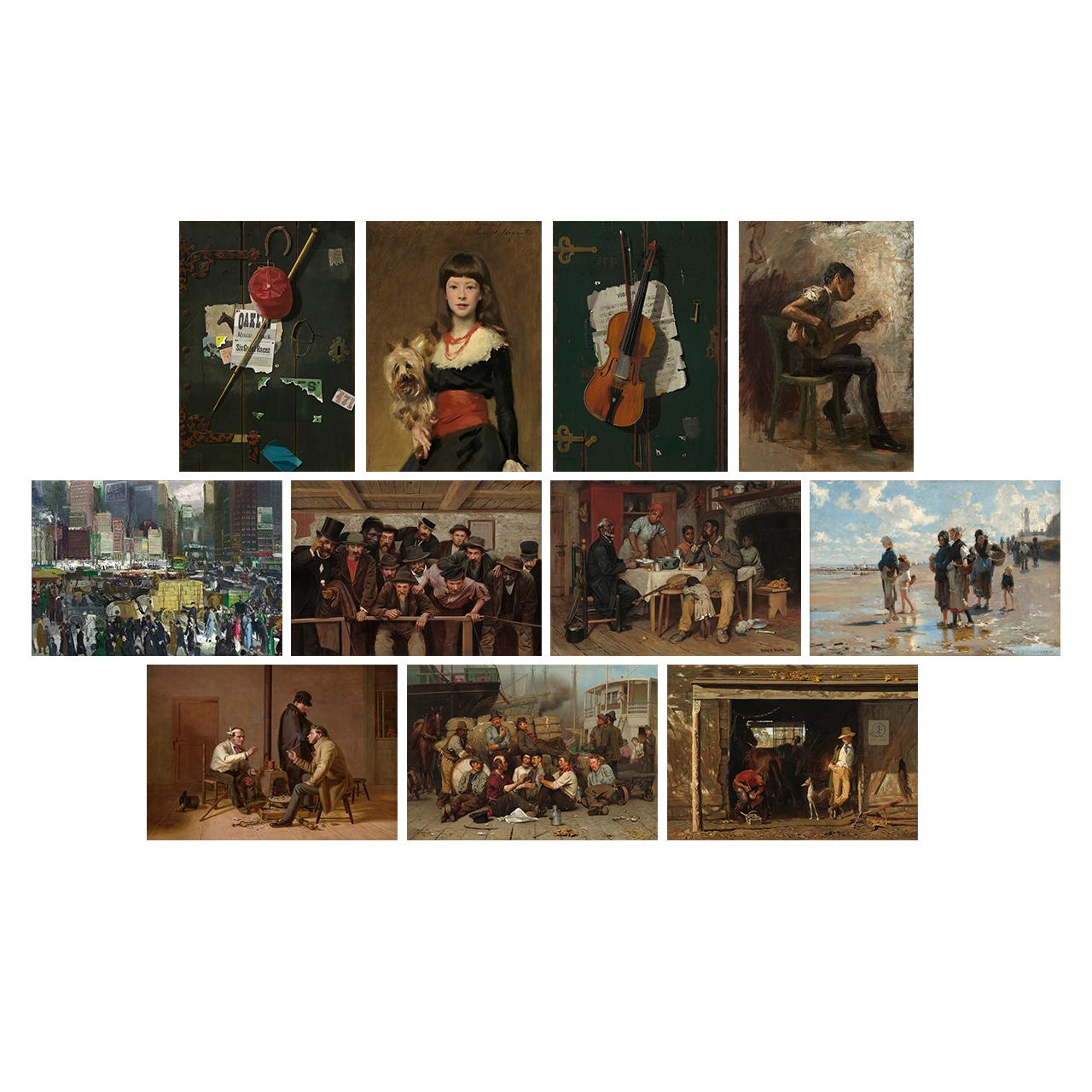 تابلو شاسی طرح آثار هنرمندان آمریکایی قرن 19 کد SET009 مجموعه 11 عددی