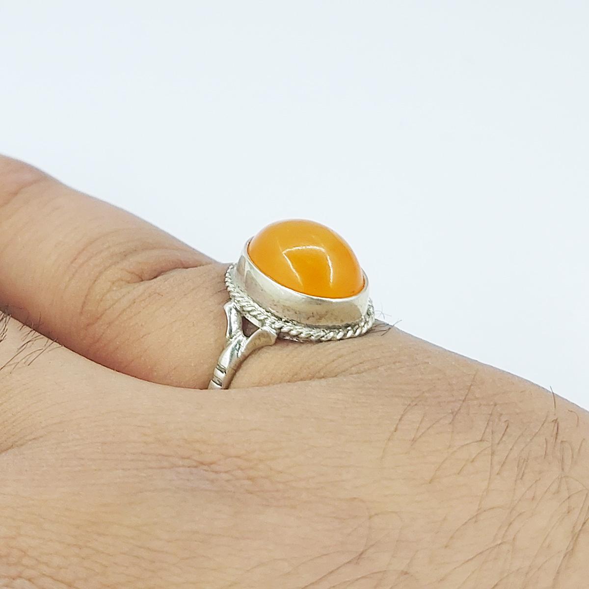 انگشتر نقره مردانه سلین کالا مدل کهربا ce-As133