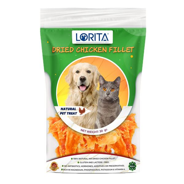 تشویقی سگ و گربه لوریتا مدل DRIED CHICKEN FILLET وزن 30 گرم