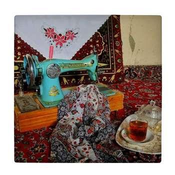 کاشی کارنیلا طرح چرخ خیاطی قدیمی و سینی چایی کد wk4544