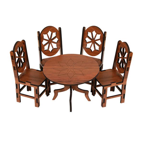 ماکت دکوری طرح میز و صندلی ناهار خوری مدل A1 مجموعه5عددی