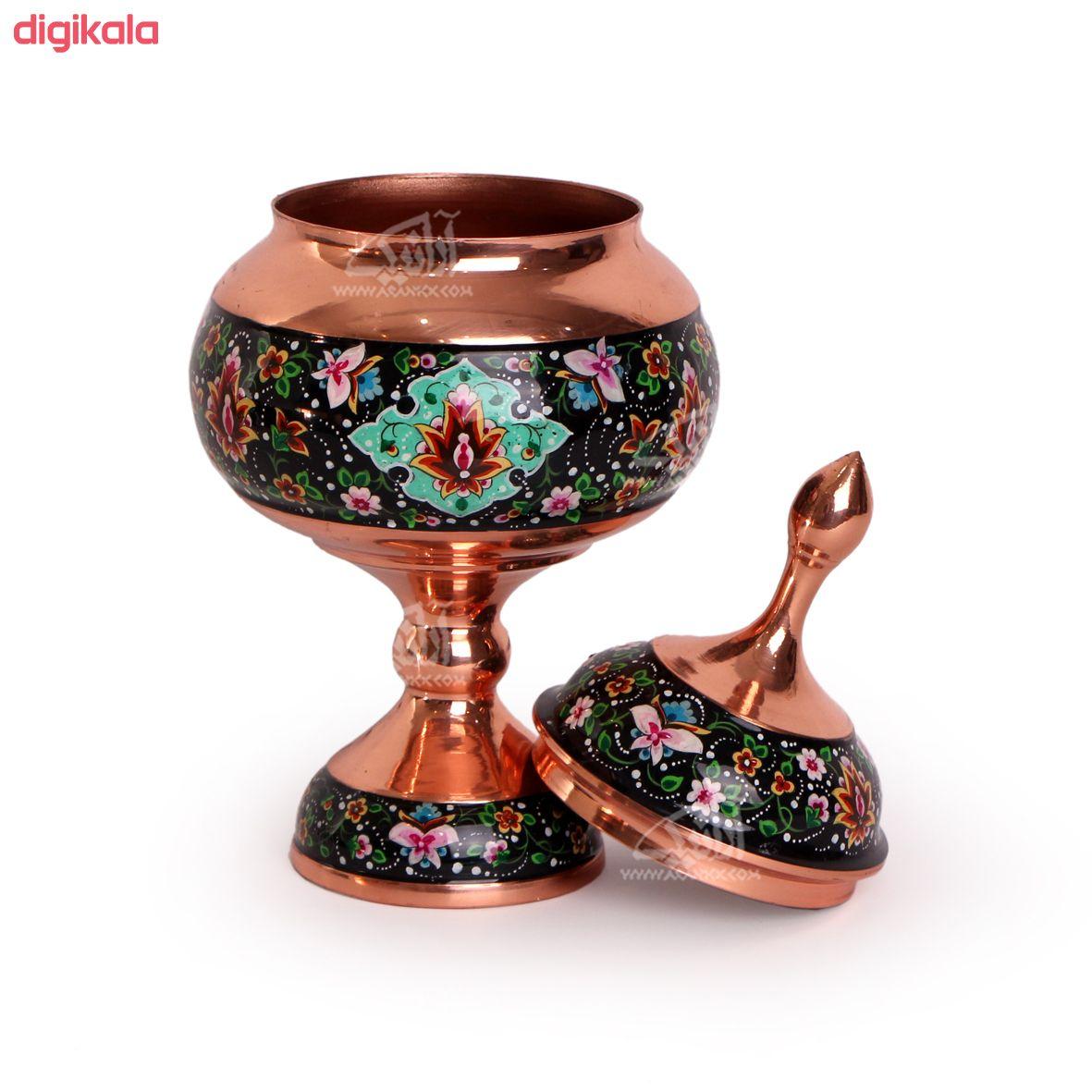 شکلات خوری پایه دار مس و پرداز رنگ مشکی  طرح شاه عباسی  مدل 1001200044 main 1 3
