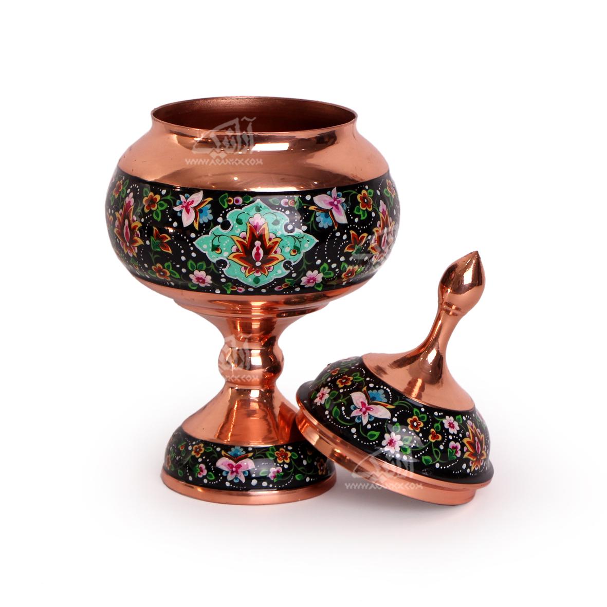 شکلات خوری پایه دار مس و پرداز رنگ مشکی  طرح شاه عباسی  مدل 1001200044 thumb 3