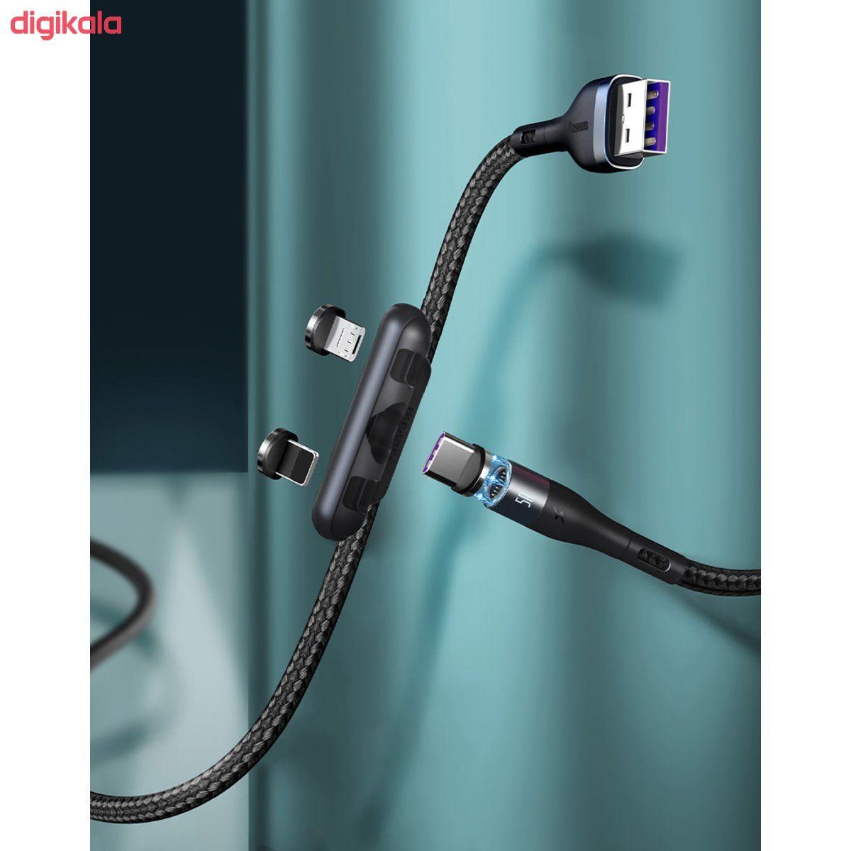 کابل تبدیل USB به USB-C/microUSB-لایتنینگ باسئوس مدل CA1T3-AG1 طول 1 متر main 1 1