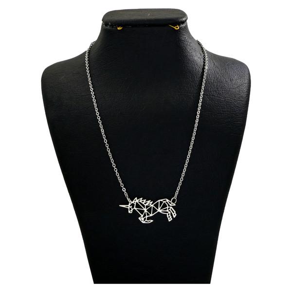 گردنبند نقره زنانه دلی جم طرح اوریگامی اسب تک شاخ کد D 108