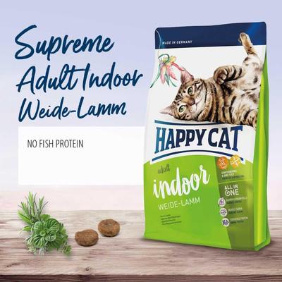غذای خشک گربه هپی کت مدل Indoor Adult Weide Lamm وزن 4 کیلوگرم