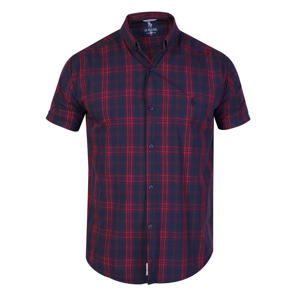 پیراهن آستین کوتاه مردانهپولو مدل چهارخانه 05 رنگ سرمه ای