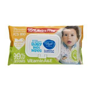 دستمال مرطوب کودک دافی کد 005 بسته 100عددی