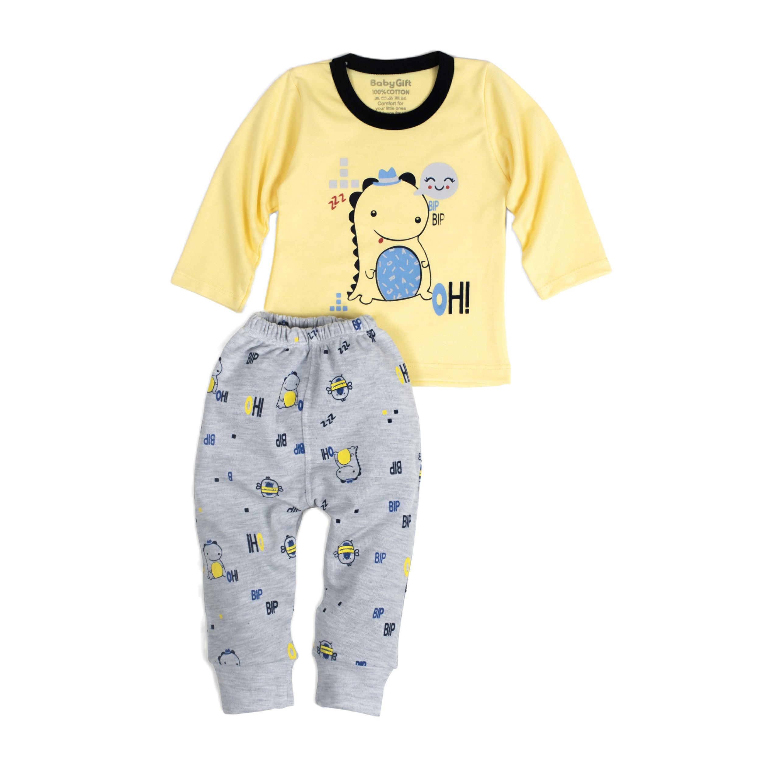 ست تی شرت و شلوار نوزادی مدل اژدها کد 11