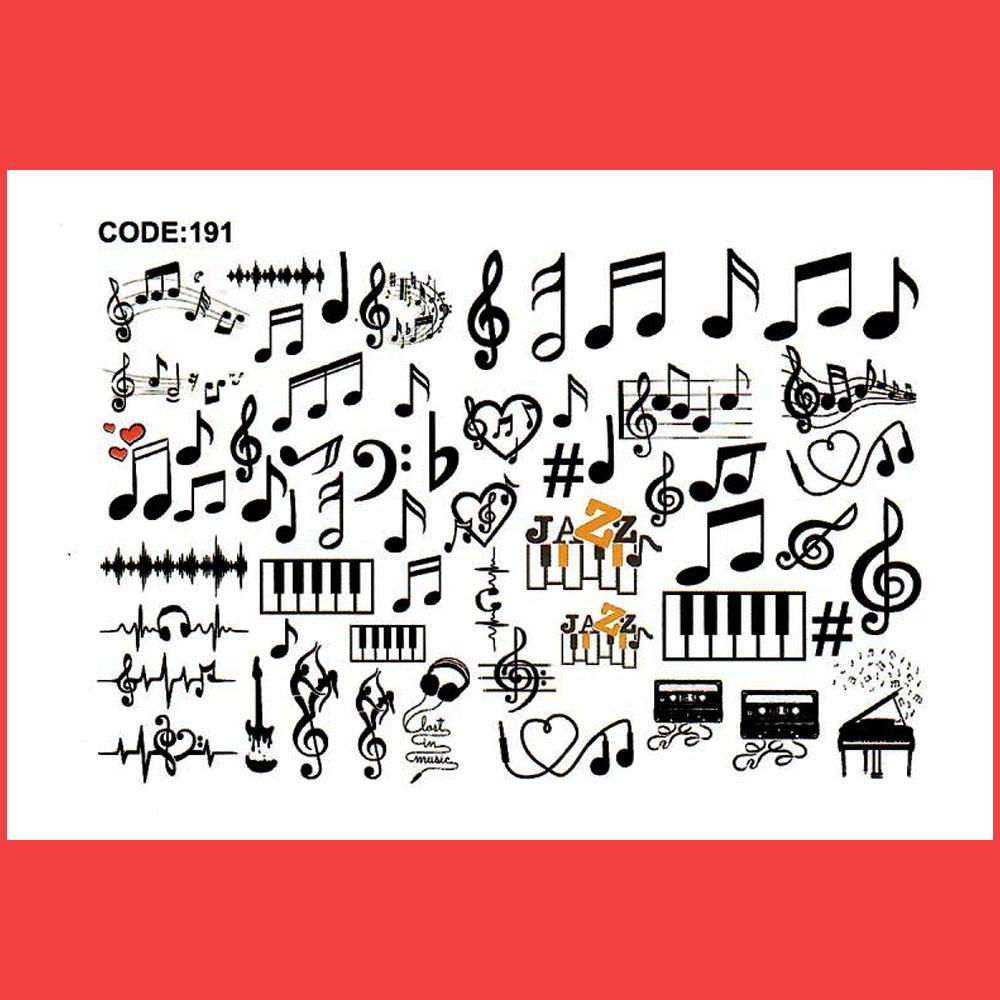 استیکر طراحی ناخن طرح نوت های موسیقی مدل C191
