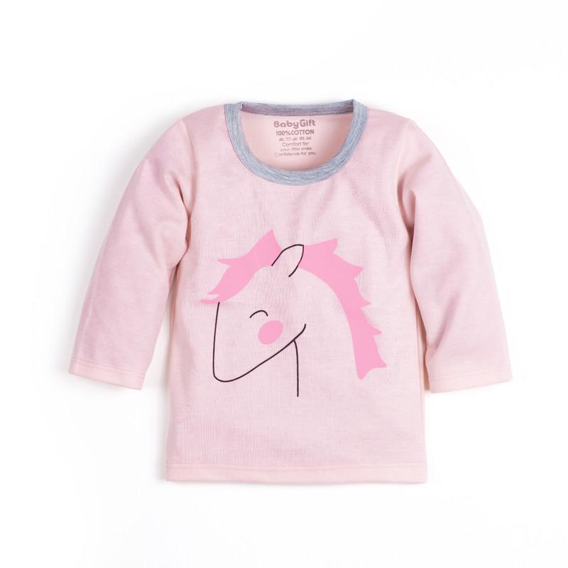 ست تی شرت و شلوار نوزادی دخترانه بی بی گیفت طرح تک شاخ کد ۱۵۰