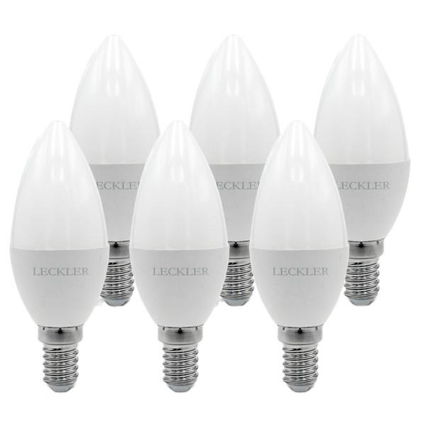 لامپ ال ای دی 6 وات لکلر مدل شمعی پایه E14 مجموعه 6 عددی