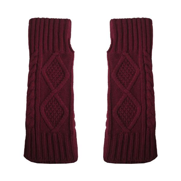 ساق دست بافتنی زنانه مدل LOZ کد 30757 رنگ زرشکی