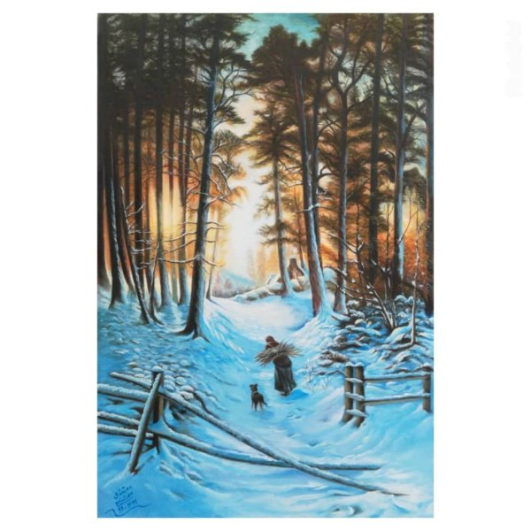 تابلو نقاشی رنگ روغن طرح غروب زمستان کد 3