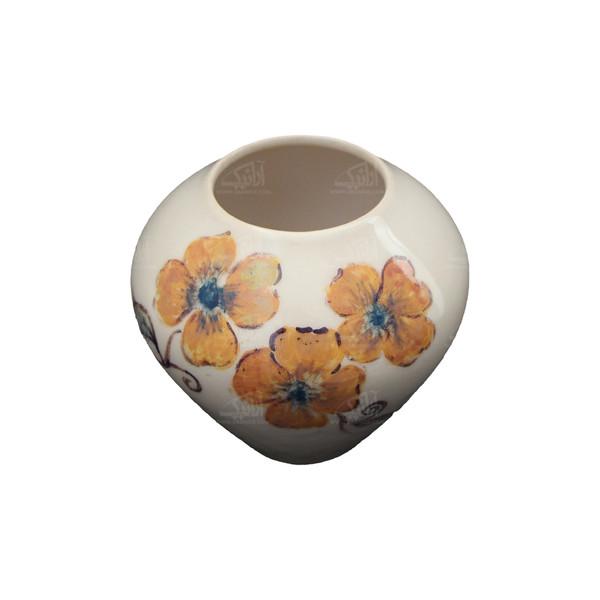 گلدان سفالی نقاشی زیر لعابی   نارنجی طرح سوگل  مدل 1015800016