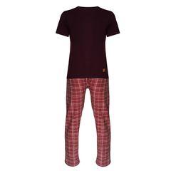 ست تی شرت و شلوارمردانه لباس خونهمدل طه کد 991101 رنگ بادمجونی